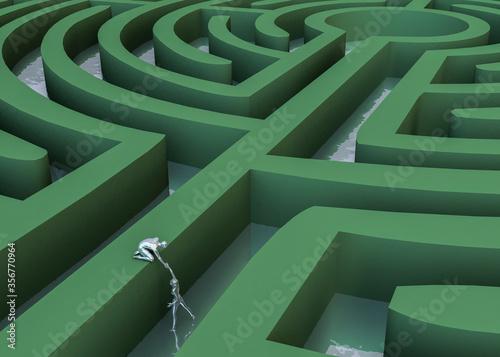 Photo Laberinto circular 3d con figuras plateadas buscando una salida alternativa
