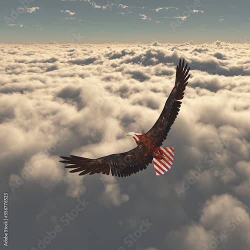 Eagle flies above clouds. Freedom Canvas Print