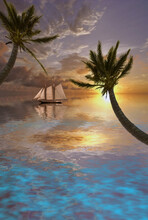 Sailboat In Tropical Waters. P...