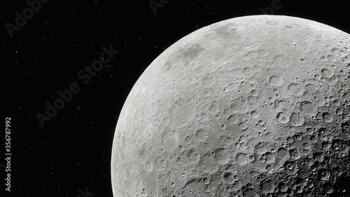 Fotografie, Obraz Realistic Moon in Space, moon craters with copyspace