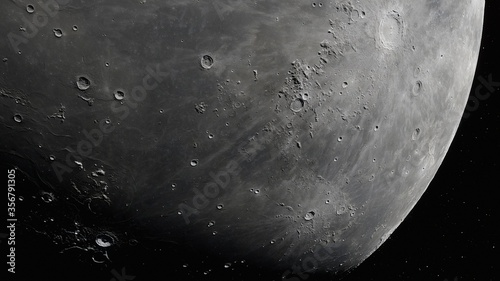 Realistic Moon in Space, moon craters with copyspace Fototapete