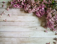 Purple Lilac Flowers On Wooden...