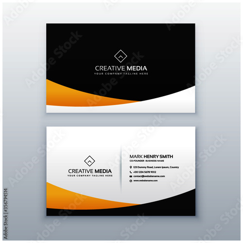 yellow and black business card design in clean minimal style Slika na platnu