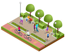 Isometric People Relaxing And Walking In The Park. People Ride A Bike On A Bicycle Path. Active And Healthy Relaxation.