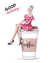 Hand Drawn Beautiful Young Woman Sitting On Large Plastic Coffee Cup. Fashion Woman In Striped Pink Dress. Fashion Illustration.