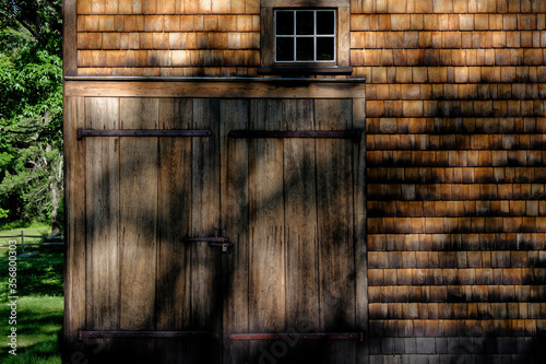 18th-century wood shingled barn and door