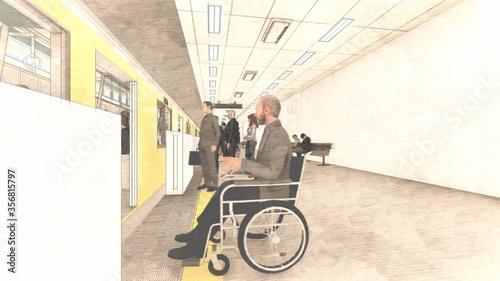 Fototapeta 電車黄色 ホーム ドア開く 人有り イラスト80