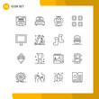 Pack of 16 Modern Outlines Signs and Symbols for Web Print Media such as electric, view, heart, page, grid