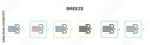 Photo Breeze vector icon in 6 different modern styles