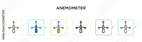 Anemometer vector icon in 6 different modern styles Wallpaper Mural