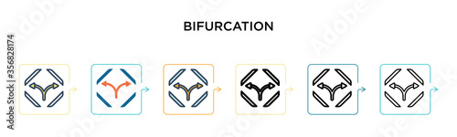 Bifurcation signal vector icon in 6 different modern styles Tapéta, Fotótapéta