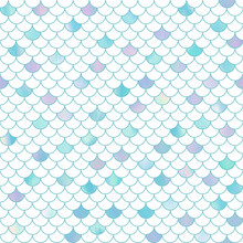 Shimmering Iridescent Colorful Mermaid Scales Seamless Pattern In Turquoise Blue On A White Background