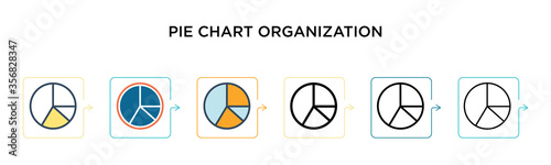 Pie chart organization vector icon in 6 different modern styles Wallpaper Mural