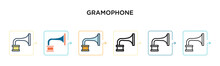 Gramophone Vector Icon In 6 Different Modern Styles. Black, Two Colored Gramophone Icons Designed In Filled, Outline, Line And Stroke Style. Vector Illustration Can Be Used For Web, Mobile, Ui