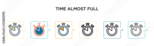 Cuadros en Lienzo Time almost full vector icon in 6 different modern styles