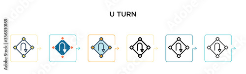 Photo U turn sign vector icon in 6 different modern styles