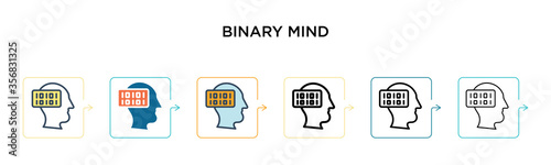 Fototapeta Binary mind vector icon in 6 different modern styles