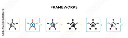Frameworks vector icon in 6 different modern styles Fototapeta