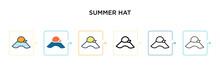 Summer Hat Vector Icon In 6 Di...