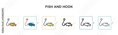 Fish and hook vector icon in 6 different modern styles Canvas Print