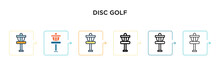 Disc Golf Vector Icon In 6 Different Modern Styles. Black, Two Colored Disc Golf Icons Designed In Filled, Outline, Line And Stroke Style. Vector Illustration Can Be Used For Web, Mobile, Ui
