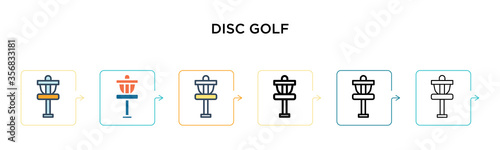 Photo Disc golf vector icon in 6 different modern styles