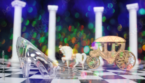 Canvas Print cinderella Glass Slipper and Horse Carriage