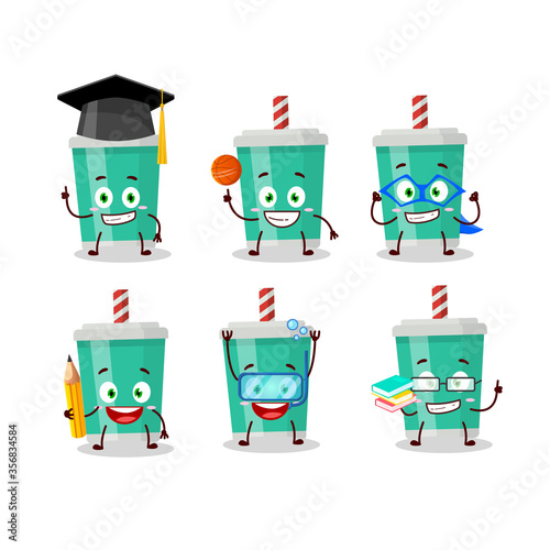 School student of soda bottle cartoon character with various expressions Wallpaper Mural