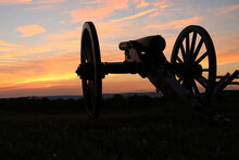 Cannon With Sunset In Gettysburg