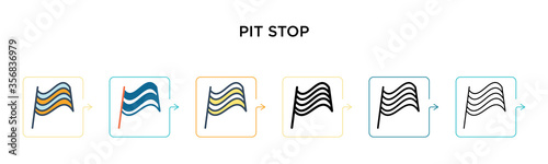 Cuadros en Lienzo Pit stop vector icon in 6 different modern styles