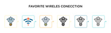 Favorite Wireles Conecction Vector Icon In 6 Different Modern Styles. Black, Two Colored Favorite Wireles Conecction Icons Designed In Filled, Outline, Line And Stroke Style. Vector Illustration Can