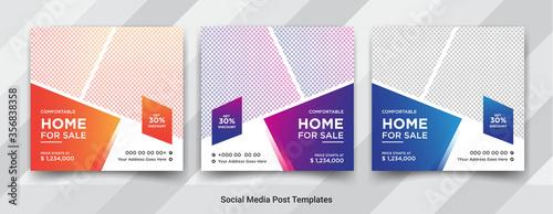 Fotografering Elegant real estate or home sale social media post templates design