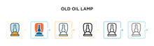 Old Oil Lamp Vector Icon In 6 ...