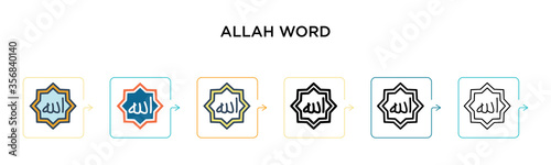 Allah word vector icon in 6 different modern styles Wallpaper Mural