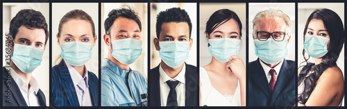 Fototapety, obrazy: Diverse people with face mask protected from Coronavirus or COVID-19 photo set in banner concept of person fighting 2019 coronavirus disease COVID-19 pandemic outbreak.