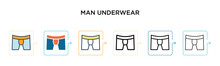 Man Underwear Vector Icon In 6...