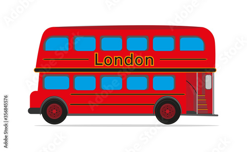 Fotografía Red London Bus vector drawing on a white background