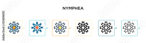Nymphea vector icon in 6 different modern styles Wallpaper Mural