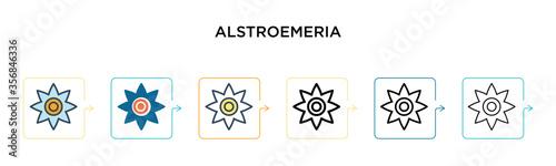 Alstroemeria vector icon in 6 different modern styles Wallpaper Mural