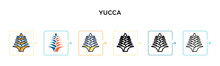 Yucca Vector Icon In 6 Different Modern Styles. Black, Two Colored Yucca Icons Designed In Filled, Outline, Line And Stroke Style. Vector Illustration Can Be Used For Web, Mobile, Ui