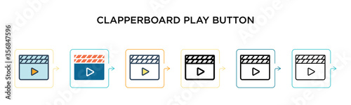 Photo Clapperboard play button vector icon in 6 different modern styles