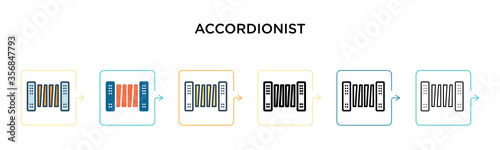 Fototapeta Accordionist vector icon in 6 different modern styles