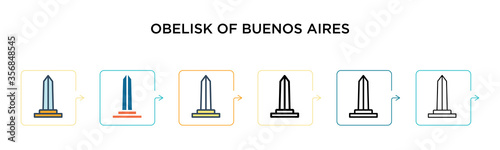 Fotografie, Obraz Obelisk of buenos aires vector icon in 6 different modern styles
