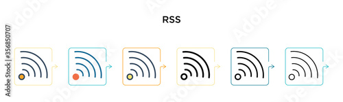 Rss vector icon in 6 different modern styles Canvas-taulu