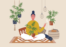 Young Female Character Smoking Weed Indoor, Cozy Boho Interior With Pillows And Plants, Marijuana Home Farm