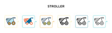Stroller Vector Icon In 6 Diff...