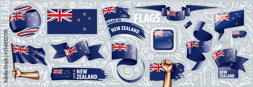 Fotografia, Obraz Vector set of the national flag of New Zealand in various creative designs
