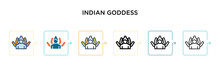 Indian Goddess Vector Icon In ...
