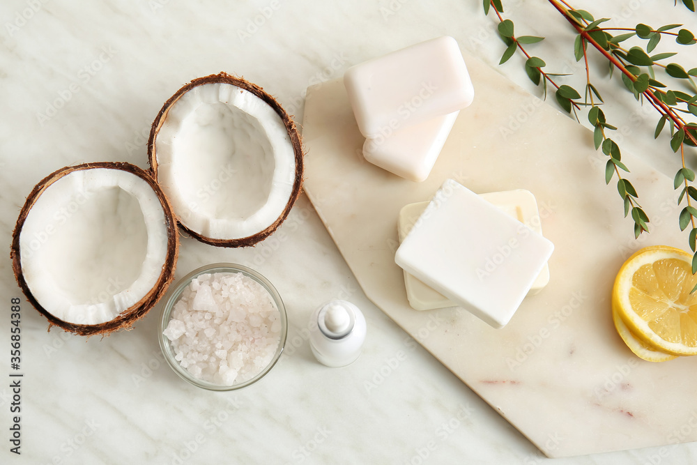 Fototapeta Natural cosmetics with ingredients on table