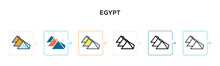 Egypt Vector Icon In 6 Different Modern Styles. Black, Two Colored Egypt Icons Designed In Filled, Outline, Line And Stroke Style. Vector Illustration Can Be Used For Web, Mobile, Ui
